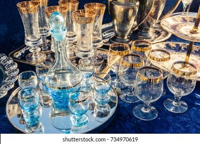 Ornate Table Set Crystal Glasses Wine Champagne Silverware Eating Luxury Fancy