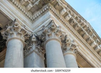 Ornate tops of Corinthian columns.