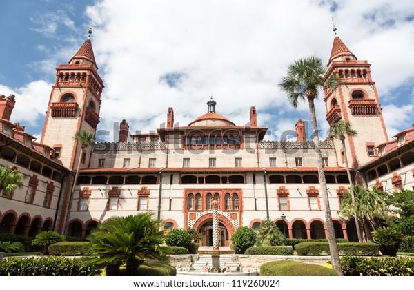 Ornate tower and details of Ponce de Leon hotel now Flagler college built Henry Flagler in St Augustine Florida