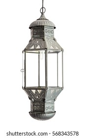 Ornate traditional moroccan lamp isolaed on white background
