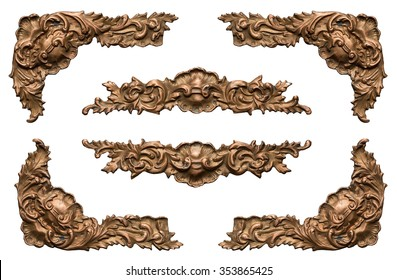 Ornate vintage metal frame elements