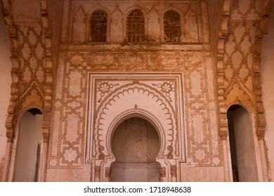 Ornate Wall with Mihrab of Public Old Almohad Tin Mal Mosque in Morocco