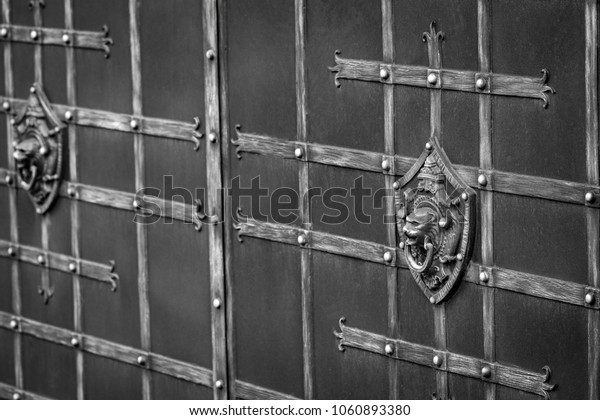 ornate wrought-iron elements of metal gate decoration.