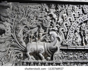 Ornated lintel with the Makara at Chennakeshava Temple, Belur, Hassan District of Karnataka state, India. It was commissioned by Hoysala Empire King Vishnuvardhana in 1117 CE.