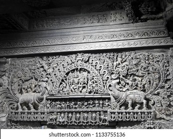 Ornated lintel with the Makara (mythical beasts) on either side at Chennakeshava Temple, Belur, Hassan District of Karnataka state, India.