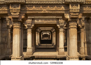 Ornately carved stonework of the Adalaj Stepwell on the outskirts of Ahmadabad, Gujarat, India. Built circa 1499.
