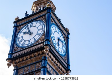 Ornately decorated vintage Clock Tower based in Gateshead Tyne and wear showing two different times.