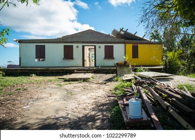 Orocovis, Puerto Rico / United States - Dec 5 2017: A home remains abandoned after its owner gave up trying to fix it almost three months after Hurricane Maria.