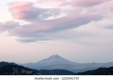 Orographic clouds and Mount Jefferson, Mt. Jefferson Wilderness from Carpenter Mountain fire lookout, H.J. Andrews Experimental Forest, Willamette National Forest, Oregon, USA