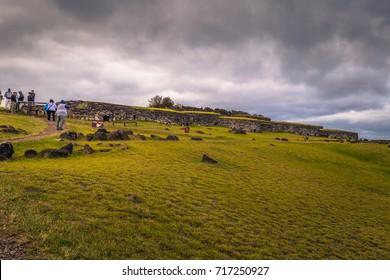 Orongo, Easter Island - July 11, 2017: Bird man village of Orongo, Easter Island