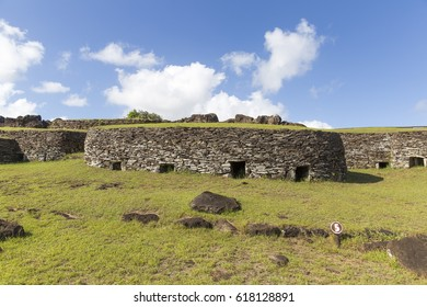 Orongo, a stone village and ceremonial centre. Easter Island. Chile