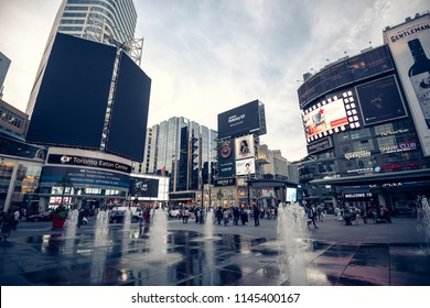ORONTO, CANADA - September 16, 2016: Yonge Dundas Square in Toronto. The Yonge-Dundas intersection is one of the busiest in Canada.