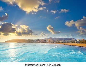 Oropesa de Mar beach La Concha playa sunset in Castellon of Spain