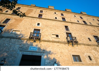 Oropesa in Toledo province on October 26, 2019: The state run hotel at Oropesa palace.
