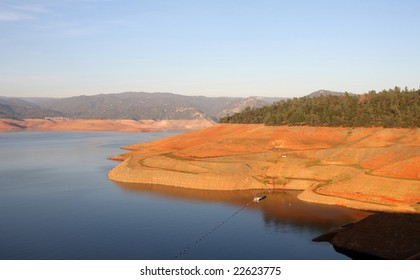 Oroville Lake, seen here in the middle of a summer drought. Oroville Dam is the tallest dam in the United States and is in the top twenty in the world for dam height and volume of dam materials.
