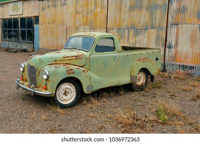 ORROROO, SA, AUSTRALIA - NOVEMBER 11: Rusty old open truck Austin 40 in the tiny outback village in South Australia, on November 11, 2017 in Orroroo, Australia