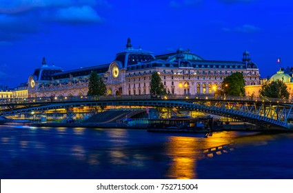 Orsay Museum (Musee d'Orsay) in Paris, France. Night cityscape of Paris. Architecture and landmark of Paris