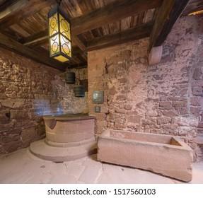 Orschwiller, France - 09 19 2019: Visit of the castle of Haut-Koenigsbourg