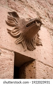 Orschwiller, France - december 2017 : animal's head in stone on the wall of Haut-Koenigsbourg castle