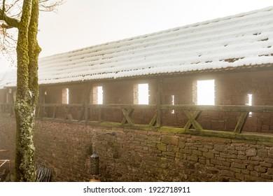 Orschwiller, France - December 2017 : walkway in Haut-Koenigsbourg castle in the mist in winter