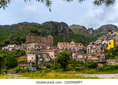 ORSOMARSO, CALABRIA, ITALY - An ancient small town, built on a rocky hill in the Middle Ages, in the north-west of the Calabria region, in the province of Cosenza, in the south of Italy, near Maratera