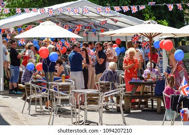Orston,Nottinghamshire,UK: May 19th  2018.Villagers in the Nottinghamshire village of Orston celebrate with street party and church service the royal wedding of Prince Harry and Meghan Markle.