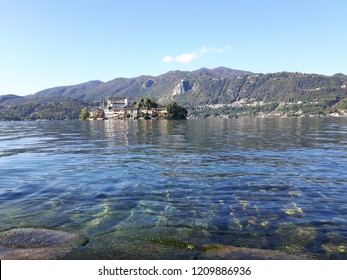 Orta San Giulio - 10/19/2018: Amazing trip in Piemonte with an incredible view to the lake d'Orta in autumn days and a caption of some old part of the countryside