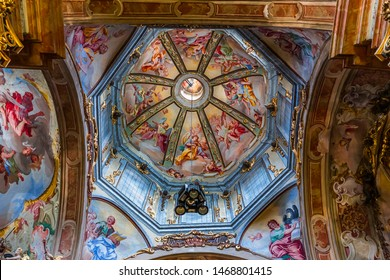 ORTA SAN GIULIO, ITALY, MAY 29, 2019 : interiors decors and frescoes of basilica di orta , may 29, 2019, in Orta san Giulio, italy