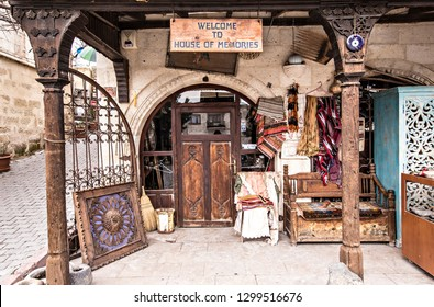 ORTAHISAR, TURKEY - December 2018: Antiques shop at Ortahisar town in Cappadocia, Turkey. Old vintage furniture and interior elements for sale on Turkish market, Anatolia, Turkey