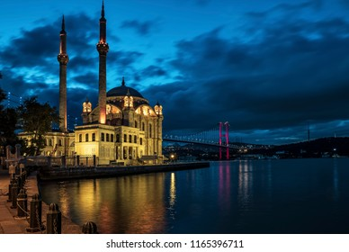 Ortakoy mosque and Bosphorus Bridge Istanbul at night