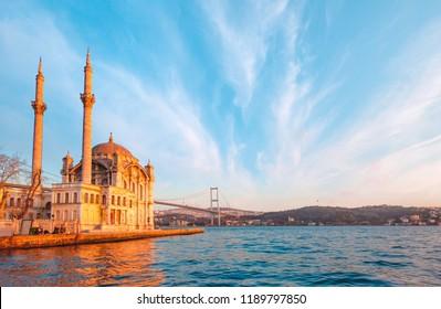 Ortakoy mosque and Bosphorus bridge - Istanbul, Turkey.