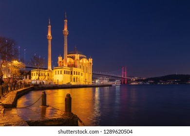 Ortakoy Mosque with Bosphorus Bridge in Istanbul after the sunset.