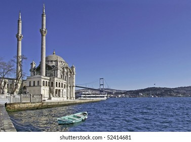 Ortakoy Mosque and The Bosphorus Bridge in Istanbul, Turkey