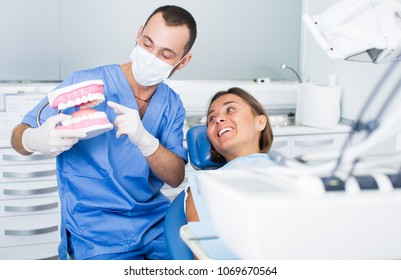 Orthodontist is telling about hygiene in hospital