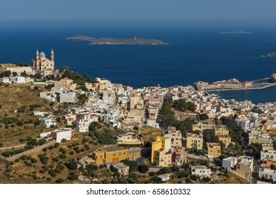 Orthodox Anastaseos church and panoramic view to Ermopoli, Syros, Cyclades Islands, Greece