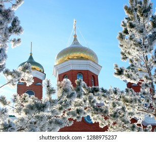 Orthodox baptism,winter landscape