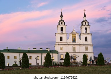 Orthodox Cathedral of the Holy Spirit in Minsk viewed at sunset, Belarus