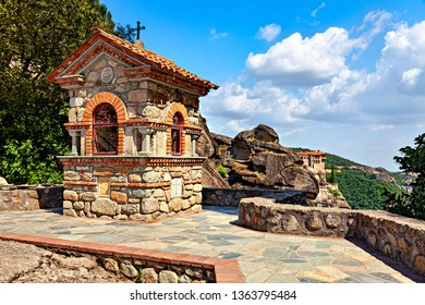 Orthodox chapel  located on the rock formation Meteora in central Greece.  Europa.
