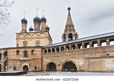 Orthodox Christian monastery  of the seventh century with belfry and passage