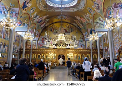 Orthodox Christian worshipers during a divine liturgy in All Saints' Church in Munich, Germany on July 23, 2017