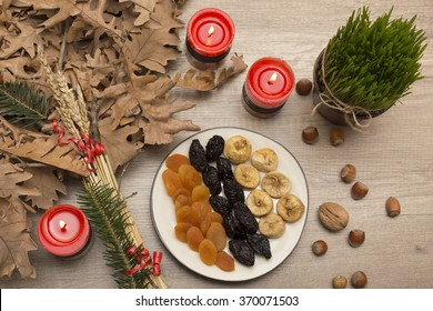 Orthodox Christmas, dried fruits on the table