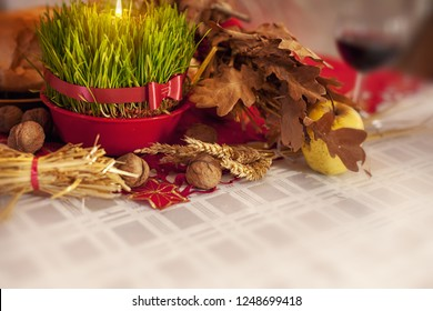 Orthodox Christmas eve traditions on rustic table. Christmas decoration.