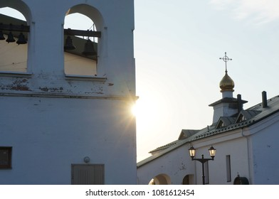 The orthodox church, Holy Trinity Cathedral in Kolpino, Russia. Bells and shine of the sun.