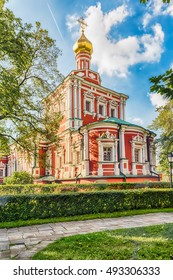 Orthodox church inside Novodevichy convent, iconic landmark and sightseeing in Moscow, Russia. UNESCO World Heritage Site