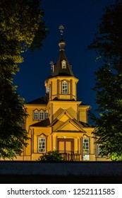 Orthodox church. Juszkowy Grod. Podlachia. Poland. Old Orthodox church by night.