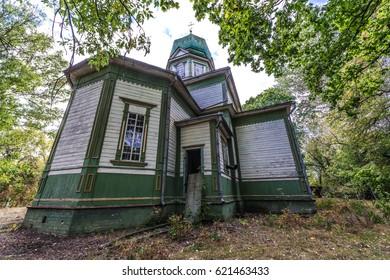 Orthodox church in Krasne, deserted village of Chernobyl Exclusion Zone, Ukraine - Shutterstock ID 621463433