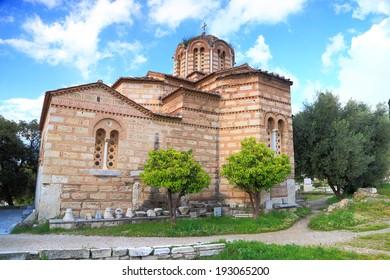 Orthodox church near the ancient agora and acropolis, Athens, Greece