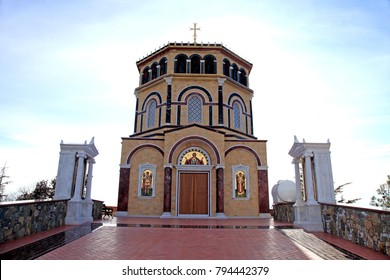 Orthodox church near tomb of the 1st President of Cyprus Archbishop Makarios III at hill Throni of Panayia over majestic Kykkos Monastery, Cyprus
