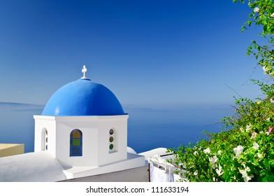 Orthodox church on Santorini island in Oia village