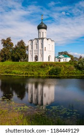 Orthodox church of the Protection of the Holy Virgin with reflection in the river Nerl, Bogolyubovo, Russia